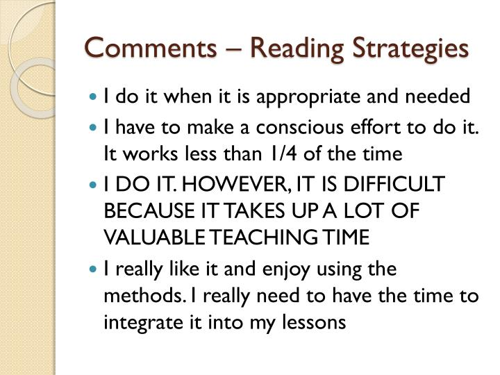 Comments – Reading Strategies
