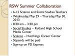 rsw summer collaboration
