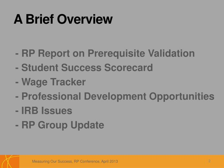 - RP Report on Prerequisite Validation