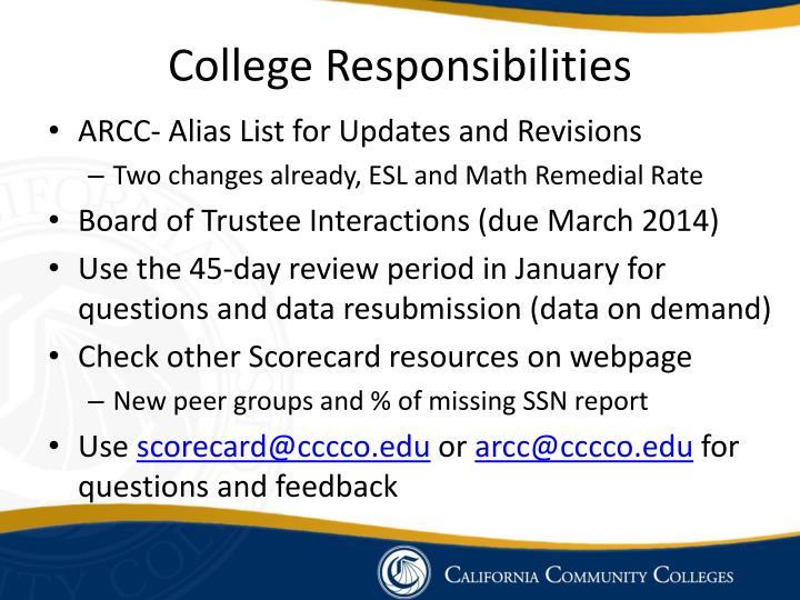 College Responsibilities