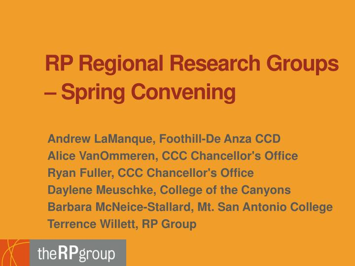 RP Regional Research Groups – Spring Convening