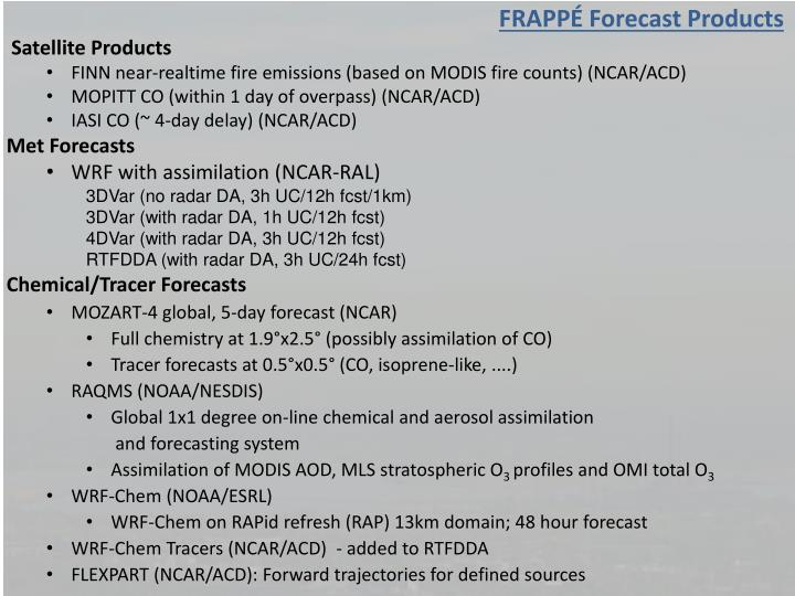 FRAPPÉ Forecast Products