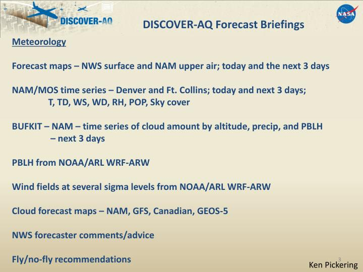 DISCOVER-AQ Forecast Briefings