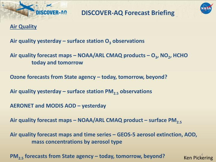 DISCOVER-AQ Forecast Briefing