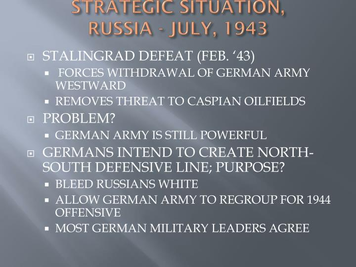 STRATEGIC SITUATION,
