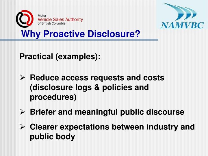 Why Proactive Disclosure?