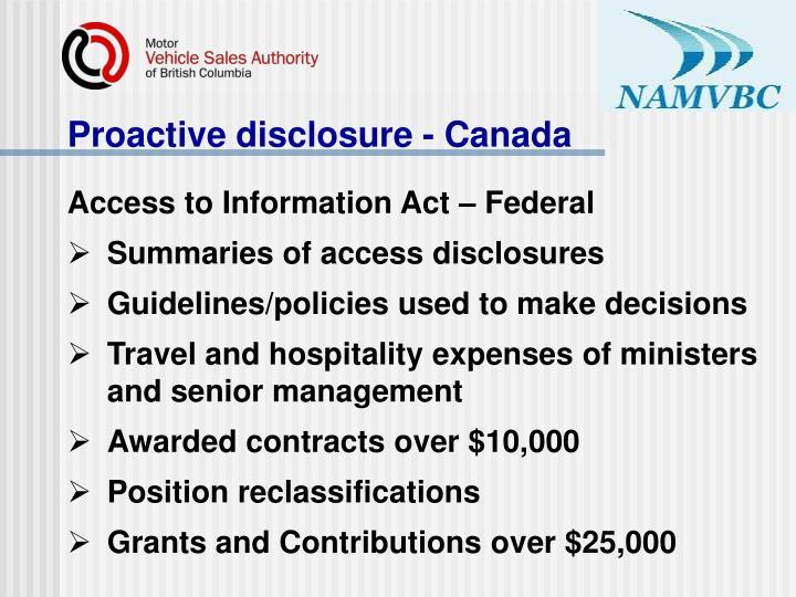 Proactive disclosure - Canada