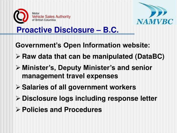 Proactive Disclosure – B.C.