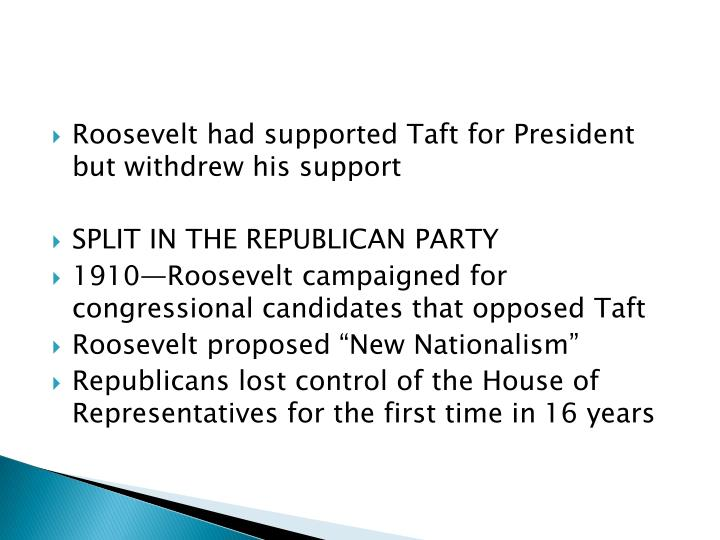 Roosevelt had supported Taft for President but withdrew his
