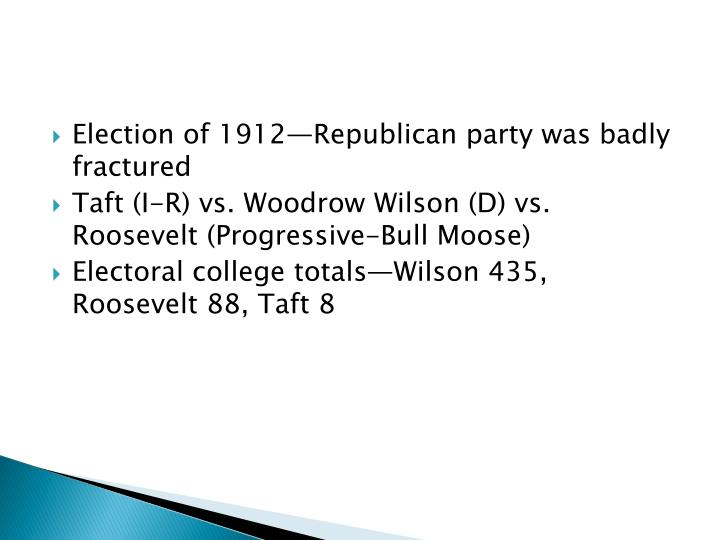 Election of 1912—Republican party was badly fractured