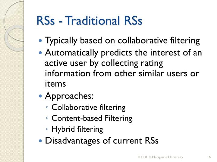 RSs - Traditional RSs
