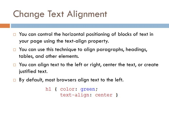 Change Text Alignment