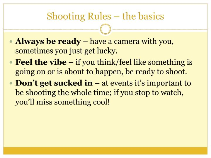Shooting Rules – the basics