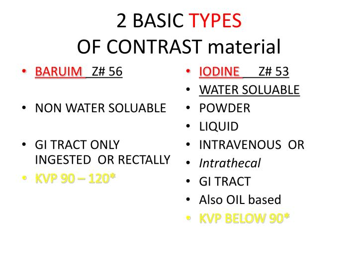 Ppt contrast media 1 powerpoint presentation id 1929935 Types of contrast