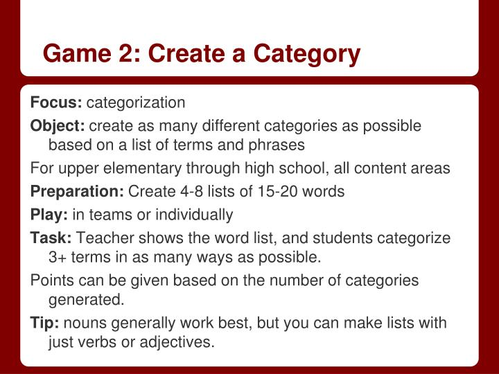 Game 2: Create a Category