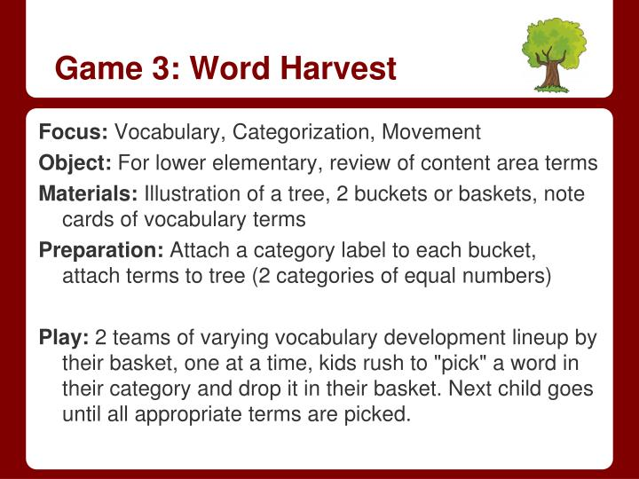 Game 3: Word Harvest