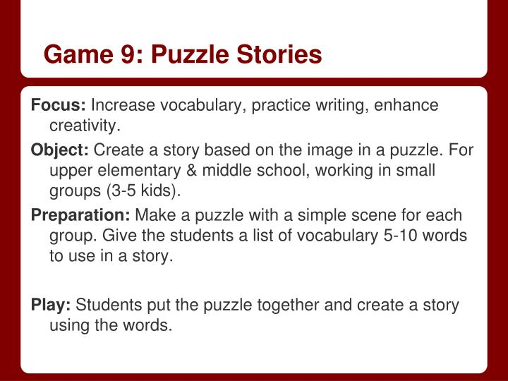 Game 9: Puzzle Stories