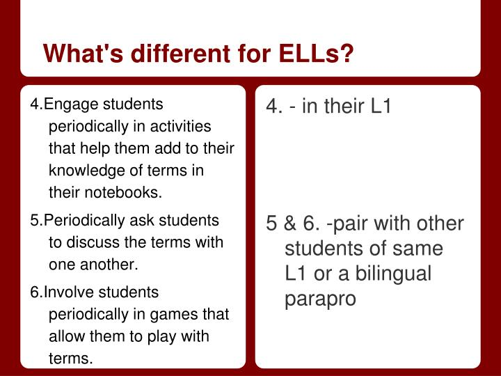 What's different for ELLs?