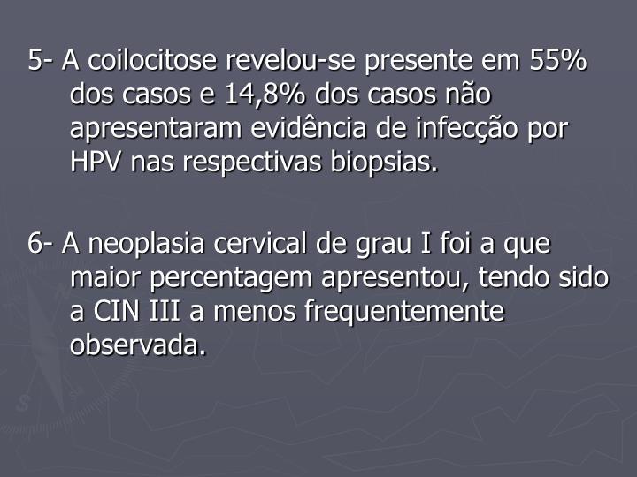 5- A coilocitose revelou-se presente em 55% dos casos e 14,8% dos casos não apresentaram evidência de infecção por HPV nas respectivas biopsias.