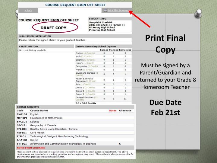 Print Final Copy