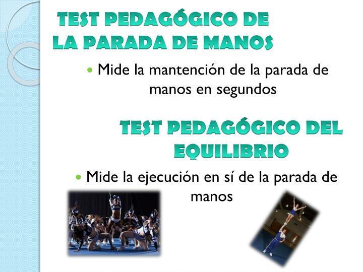 TEST PEDAGÓGICO DE LA PARADA DE MANOS