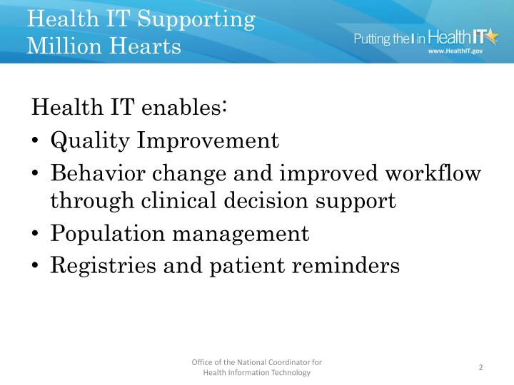 Health it supporting million hearts