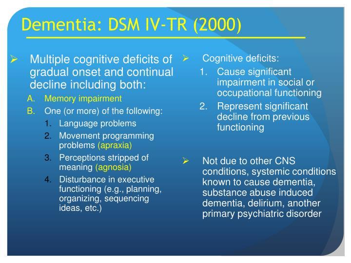 Dementia: DSM IV-TR (2000)