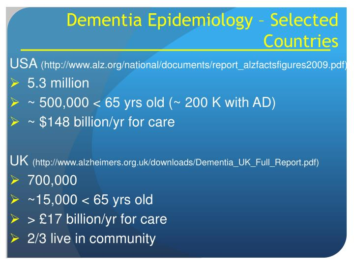 Dementia Epidemiology – Selected Countries