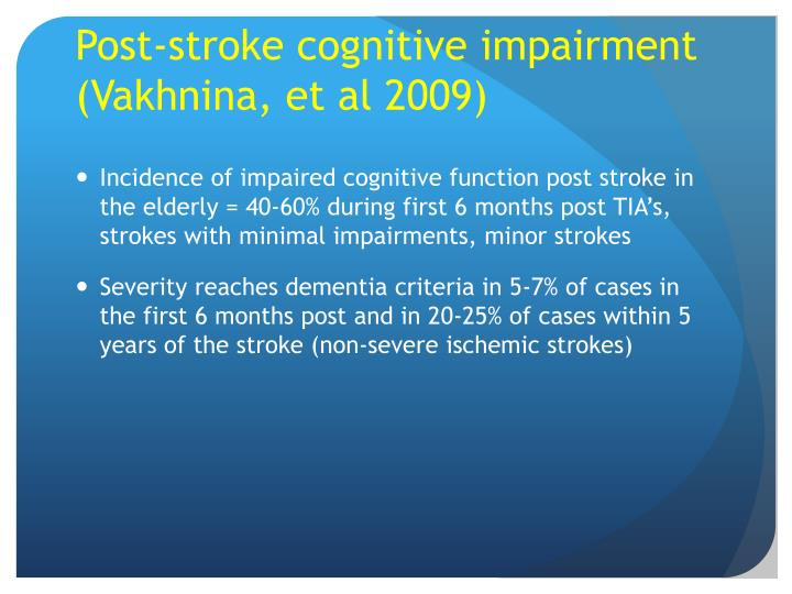 Post-stroke cognitive impairment (