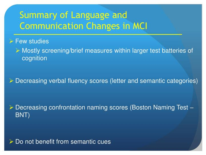 Summary of Language and Communication Changes in MCI