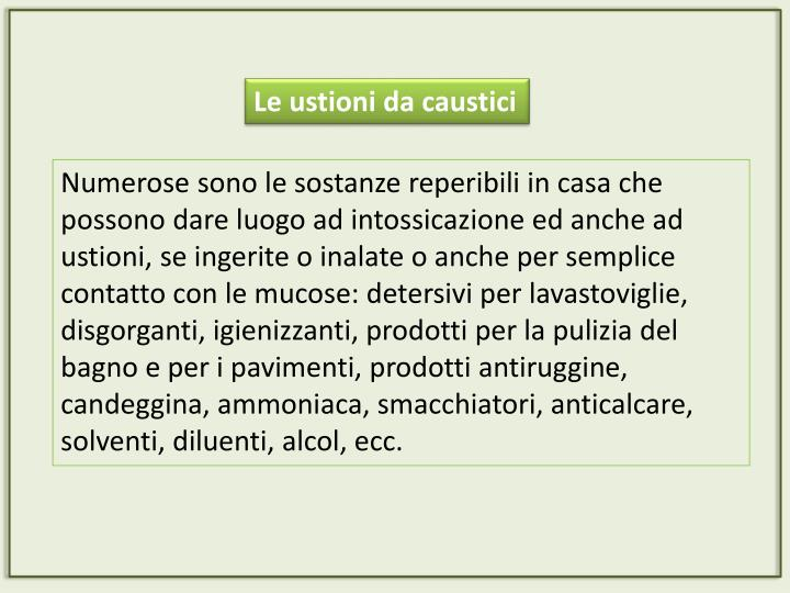 Le ustioni da caustici