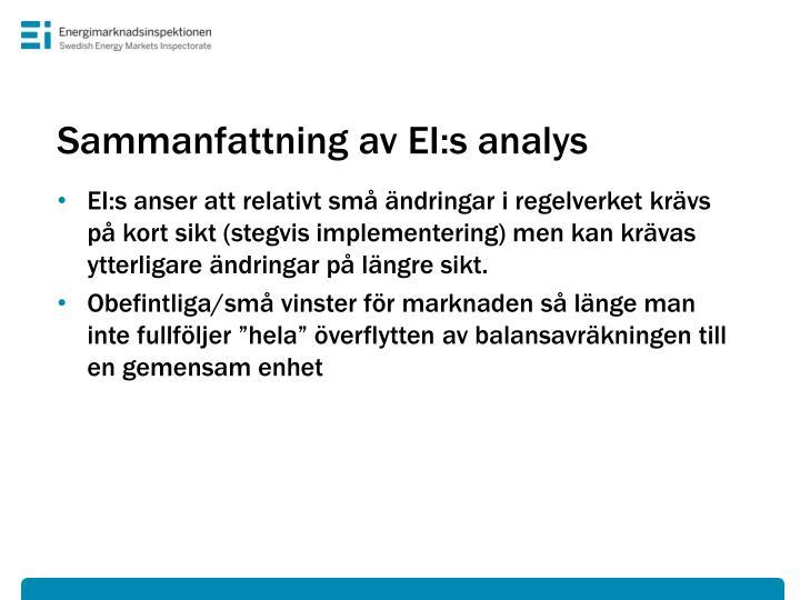 Sammanfattning av EI:s analys