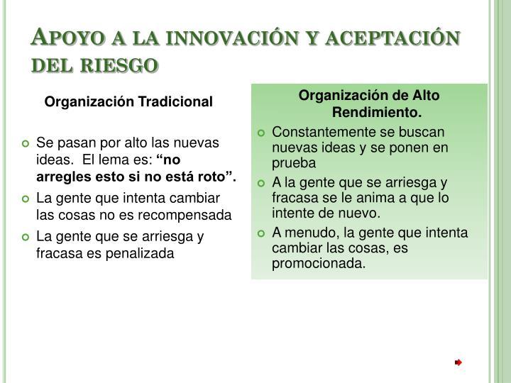 Apoyo a la innovación y aceptación del riesgo