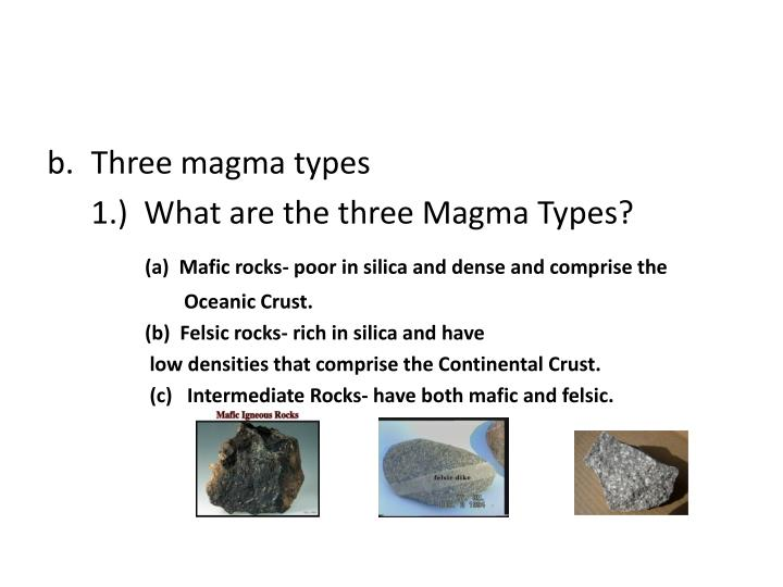 Three magma types
