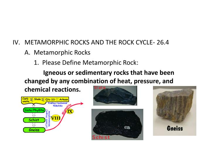 METAMORPHIC ROCKS AND THE ROCK CYCLE- 26.4
