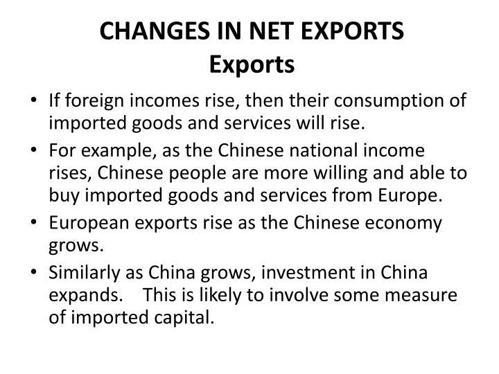 CHANGES IN NET EXPORTS