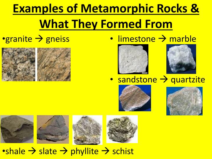 Examples of Metamorphic Rocks & What They Formed From