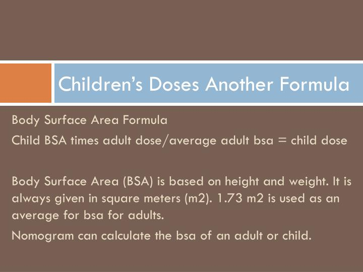 Children's Doses Another Formula