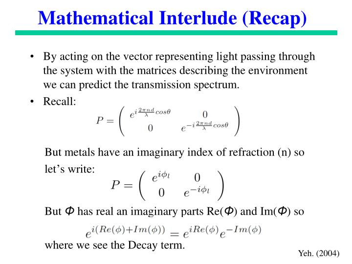 Mathematical Interlude (Recap)
