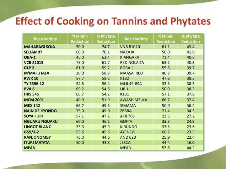 Effect of Cooking on Tannins and