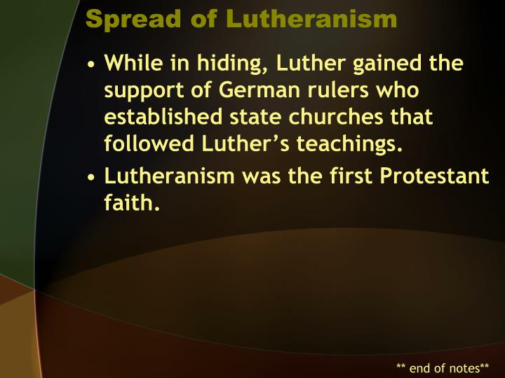 Spread of Lutheranism