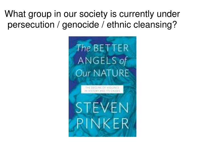 What group in our society is currently under persecution / genocide / ethnic cleansing?