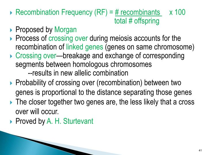 Recombination Frequency (RF) =