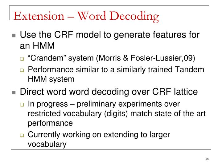Extension – Word Decoding