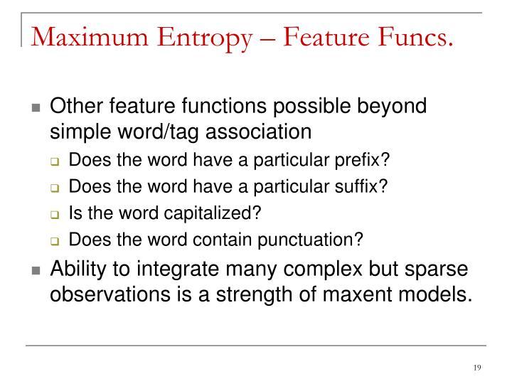 Maximum Entropy – Feature