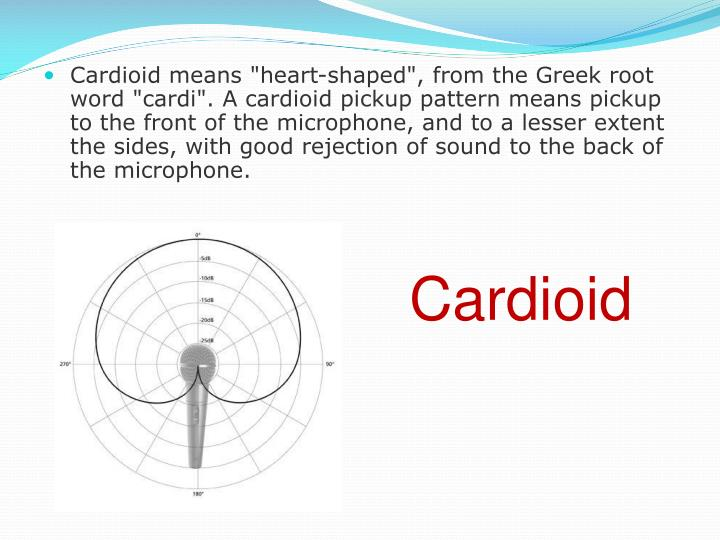 "Cardioid means ""heart-shaped"", from the Greek root word ""cardi"". A cardioid pickup pattern means pickup to the front of the microphone, and to a lesser extent the sides, with good rejection of sound to the back of the microphone."