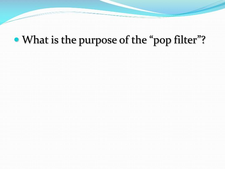 "What is the purpose of the ""pop filter""?"