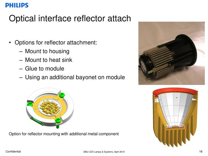 Optical interface reflector attach