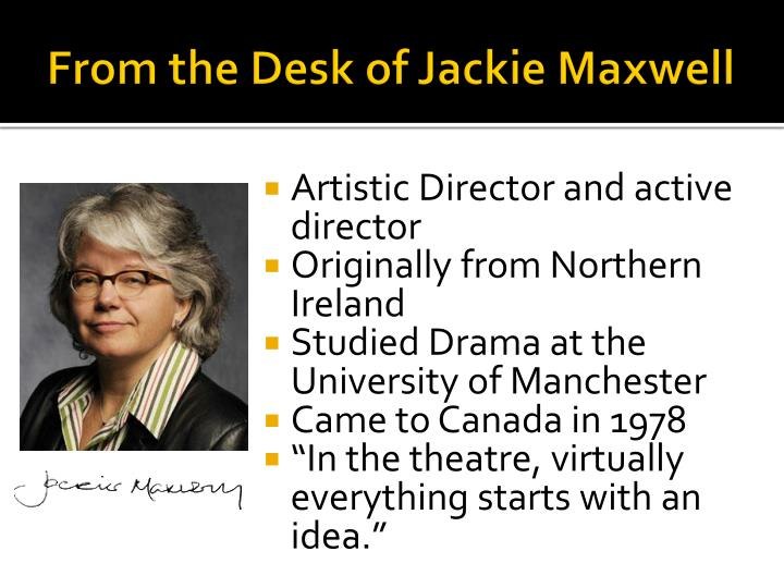 From the Desk of Jackie Maxwell