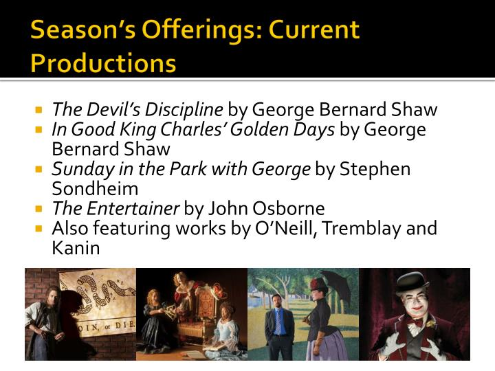 Season's Offerings: Current Productions